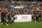 Cornwall celebrate their County Championship success at Twickenham in 2019. Picture: Simon Bryant/Iktis Photo