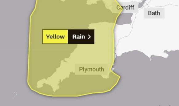 The Met Office has issued a yellow weather warning for rain