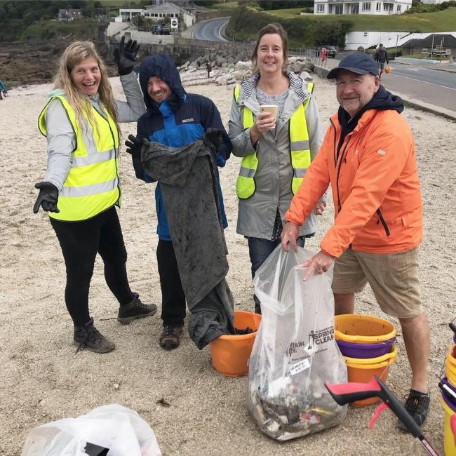 Cleaning up at Swanpool, where volunteers picked up and took away 18.2kg of rubbish