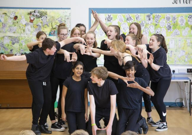 Truro School Drama students perform 'The Promise' to pupils at Devoran School